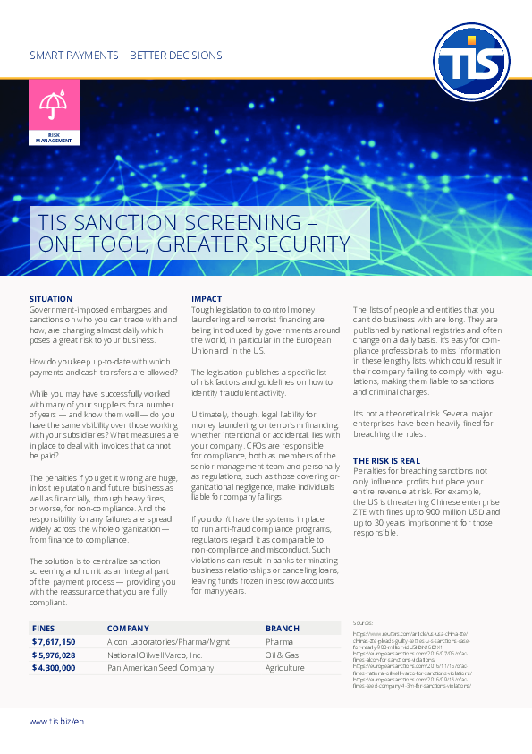 TIS Sanction Screening - One Tool, Greater Security
