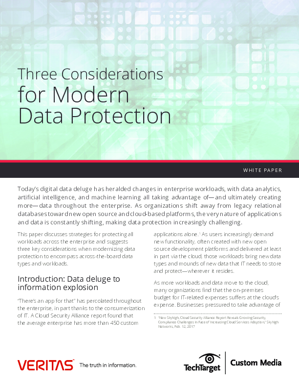 Three Considerations for Modern Data Protection
