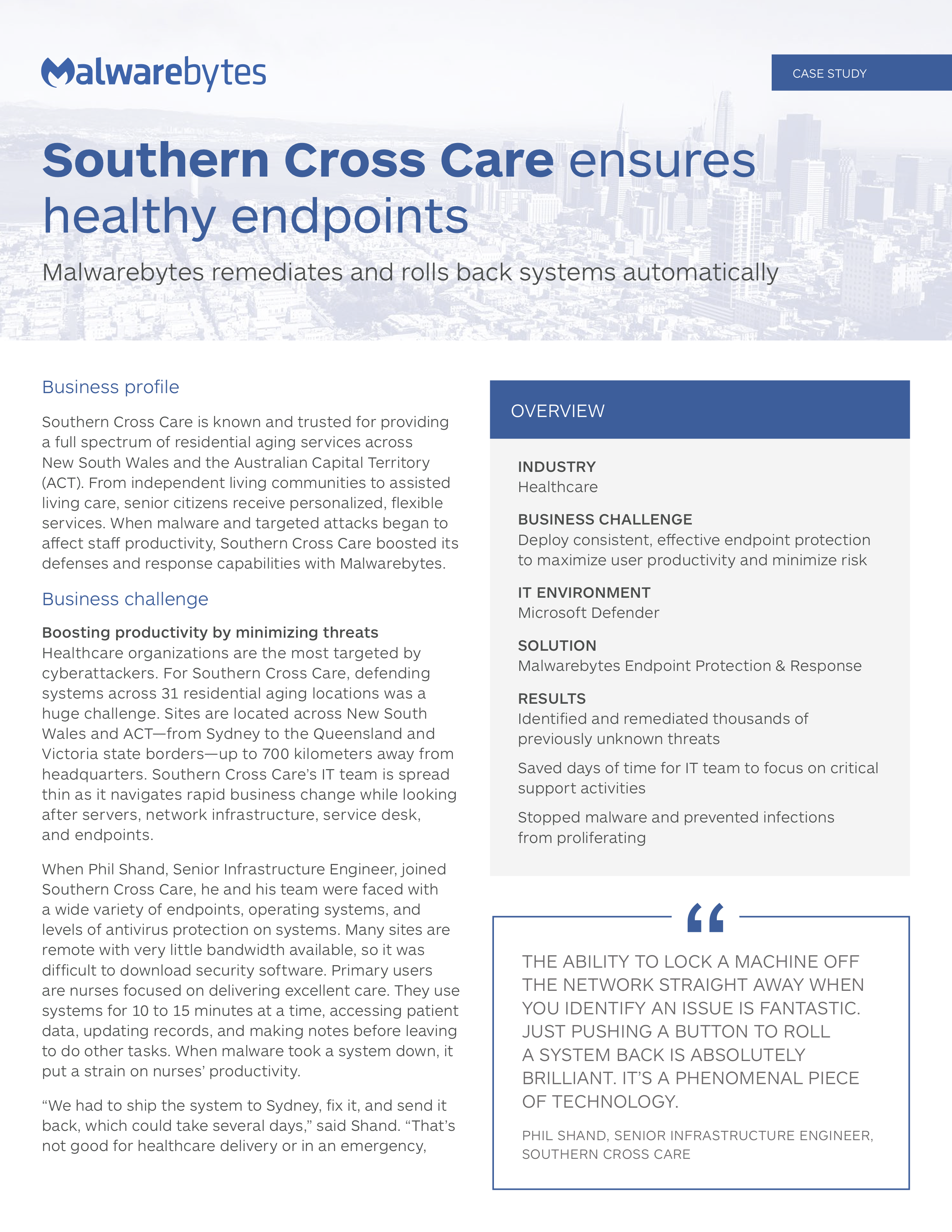Southern Cross Care ensures healthy endpoints