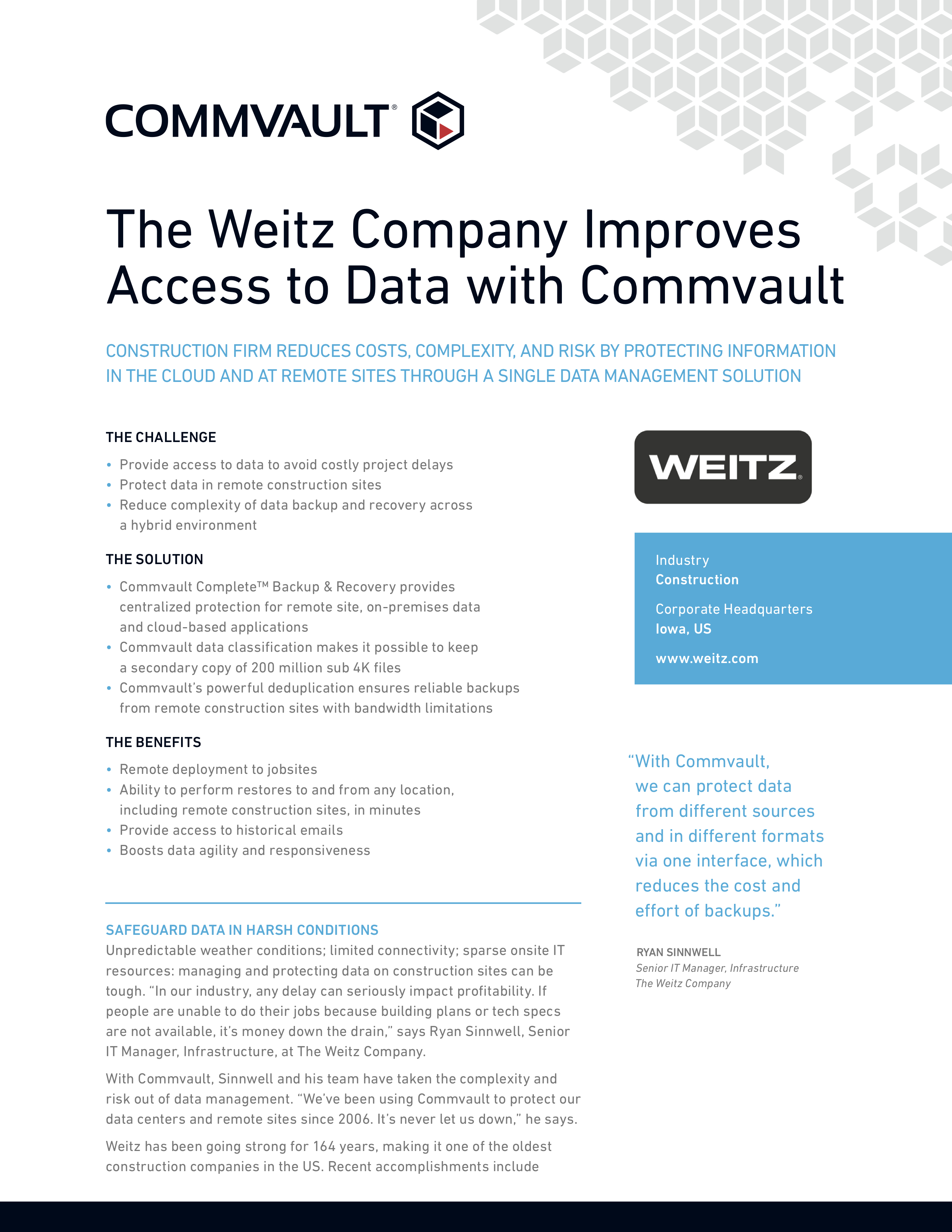The Weitz Company Improves Access to Data with Commvault