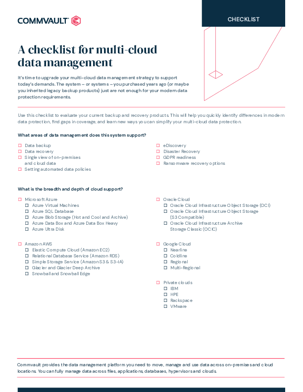Thumb original a checklist for cloud data management