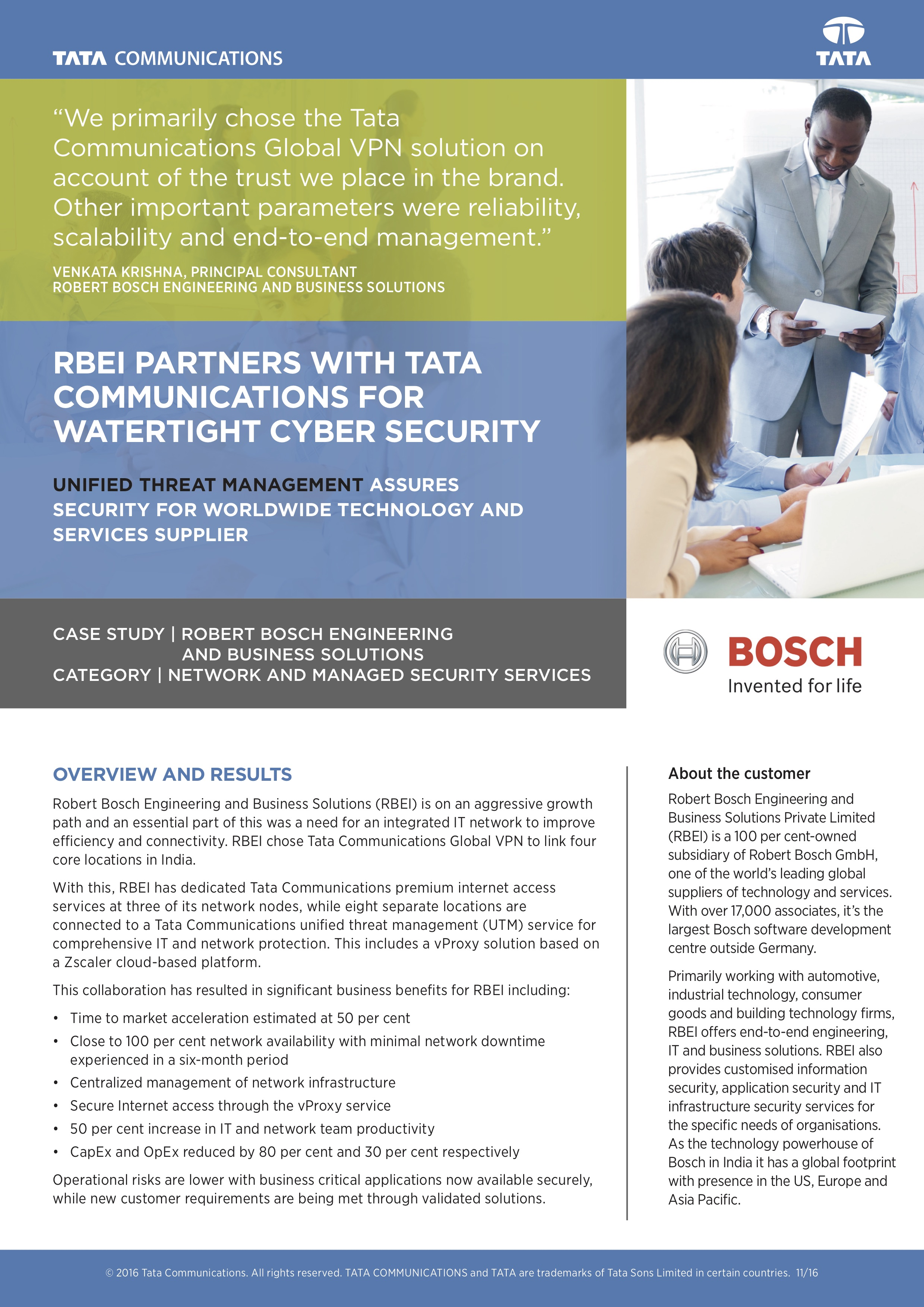 RBEI Partners With Tata Communications for Watertight Cyber Security