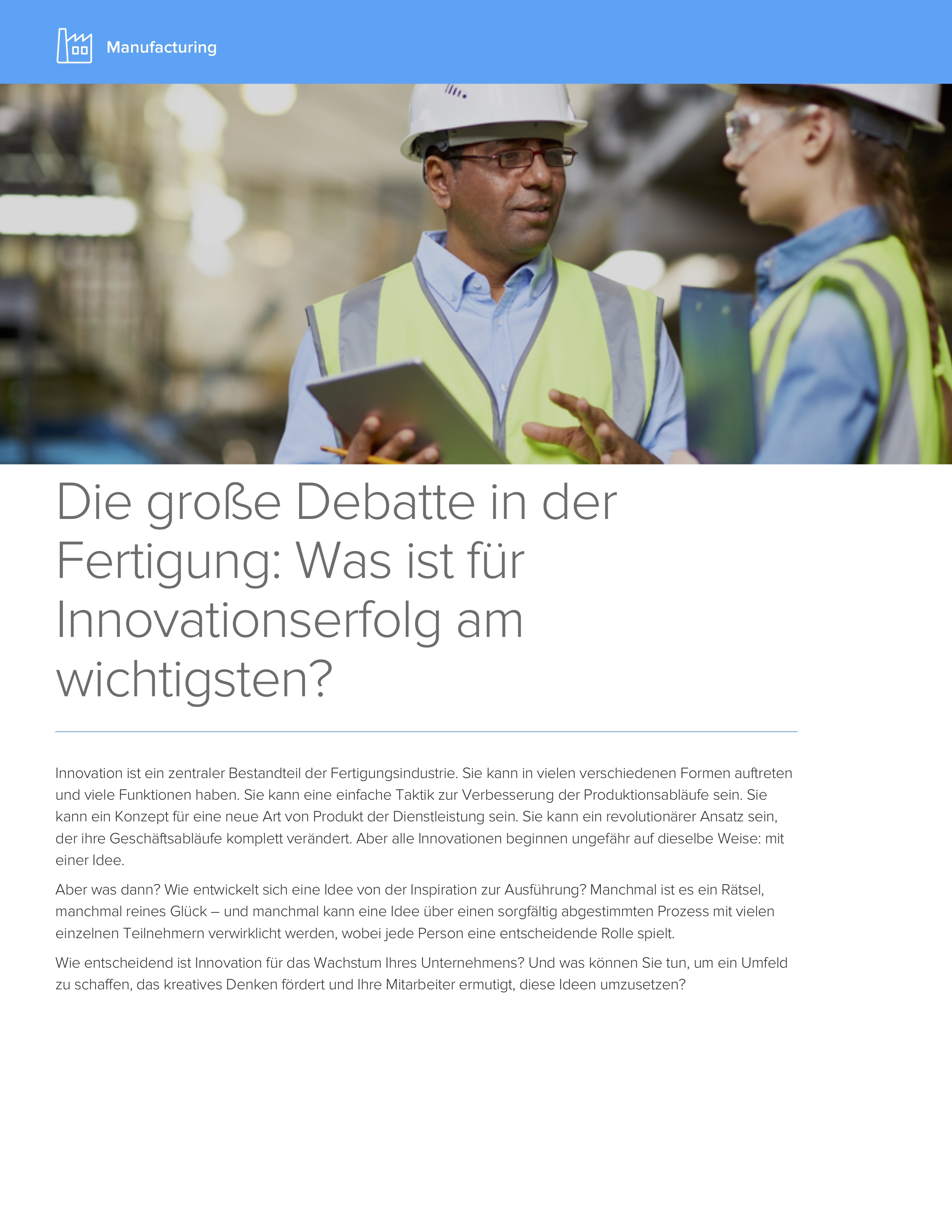 Manufacturing was ist fur innov ationserfolg am wichtigstencover