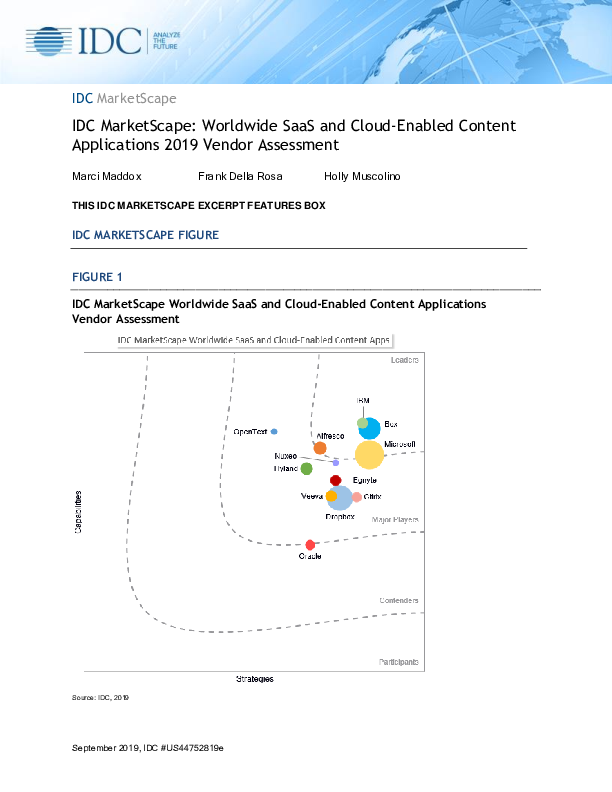 Thumb original licensed pdf idc marketscape  worldwide saas and cloud enabled content applications 2019 vendor assessment