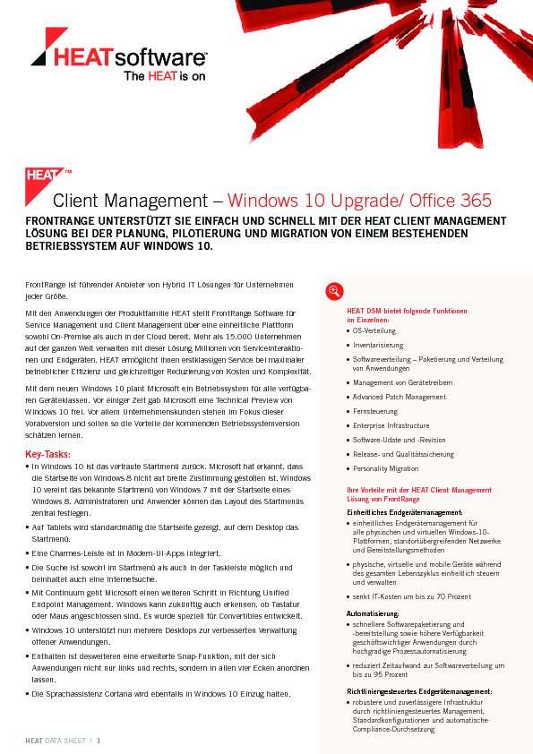 Client Management – Windows 10 Upgrade/ Office 365