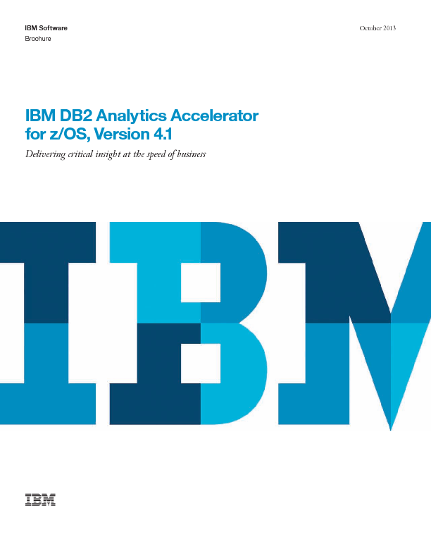 Thumb original ibm db2 analytics accelerator for z os version 4.1