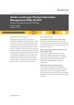 Vendor Landscape: Product Information Management (PIM), Q3 2017