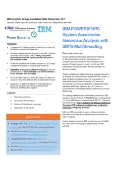 IBM POWER8® HPC System Accelerates Genomics Analysis with SMT8 Multithreading
