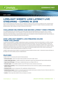 Limelight - Low-Latency Live Streaming - Coming in 2018