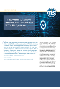 TIS payment solutions help maximize your win with SAP S/4HANA