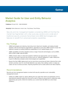 Gartner Guide: Market Guide for User and Entity Behavior Analytics