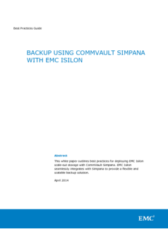 Thumb h13077 wp isilon backup using commvault bestpractices