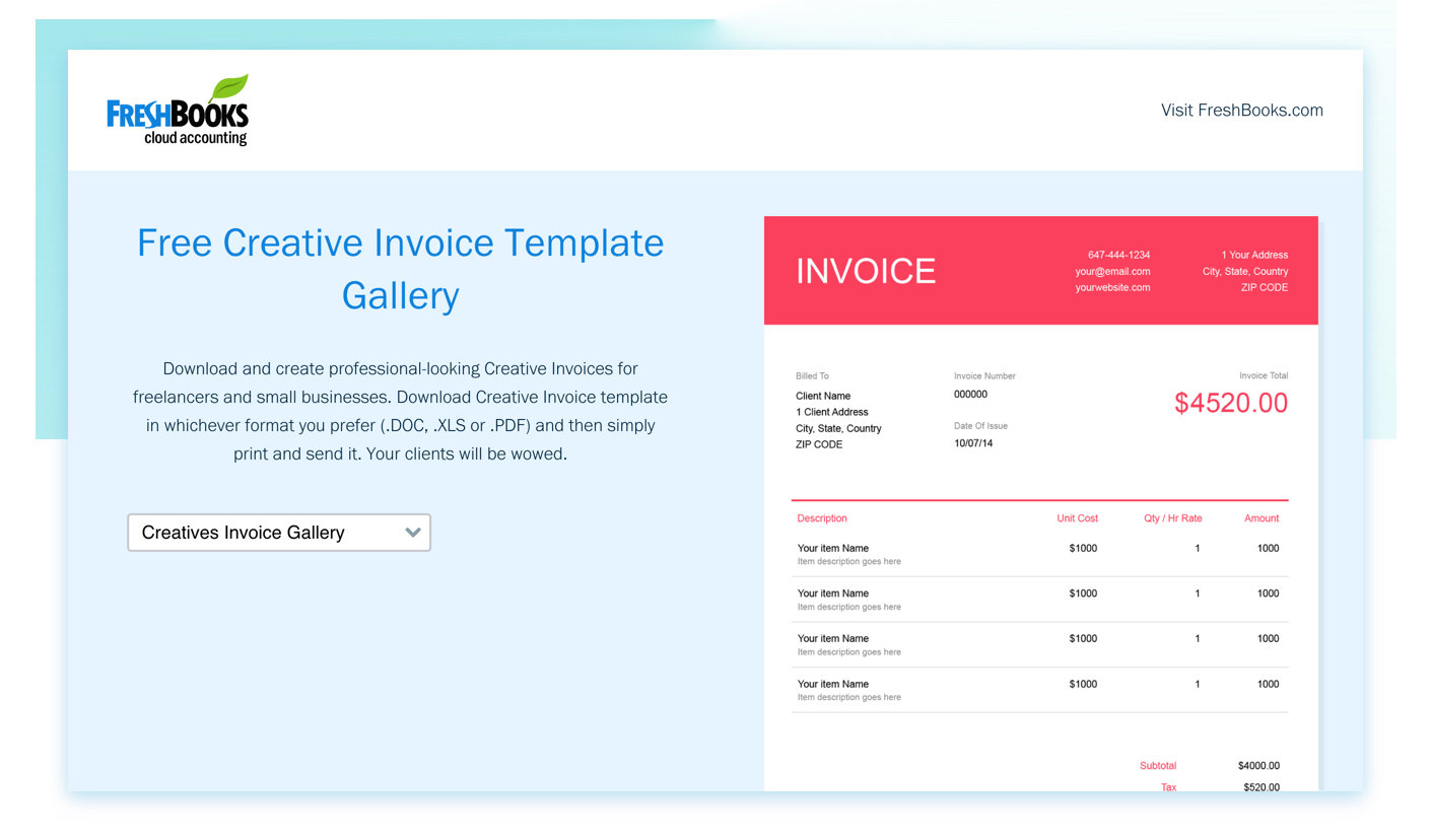 FreshBooks lead magnet free invoice template