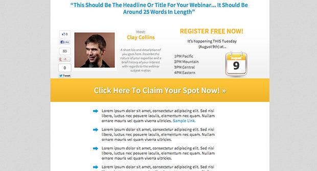 Single Host Webinar Registration Page