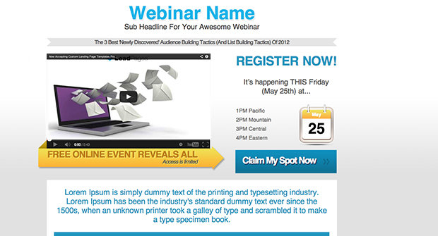 Webinar Registration Page With Video