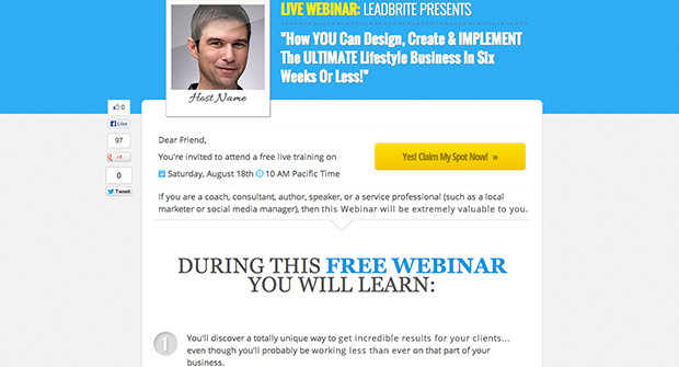 High Converting Webinar Registration Landing Page Template