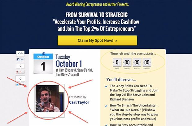 This casual photo on this Webinar 2.0 Page boosted response by 76.62%.