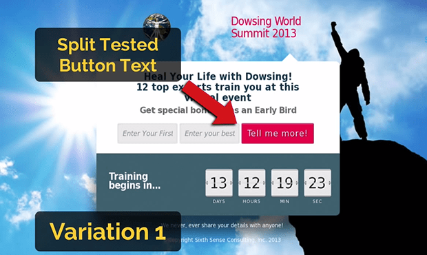 """Variation 1 of this Launching Soon Page won this split test with """"Tell Me More"""" as the button text."""