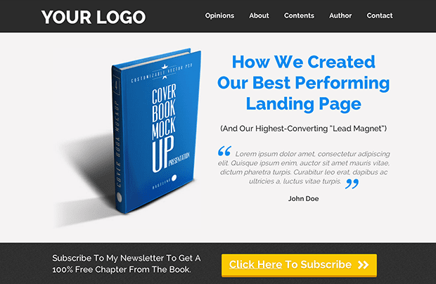 Personally, this is my favorite template inside LeadPages. This eBook Landing Page (from Pat Flynn) from gives you an entire mini-site to market your new book or publication.