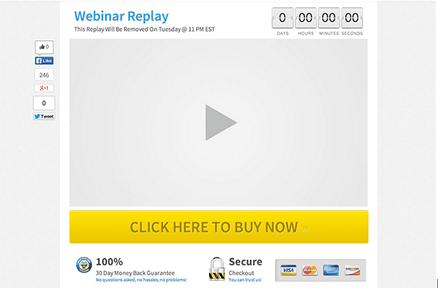This webinar replay page (with the countdown clock) creates urgency for your subscribers to watch your webinar -- and it drives seals.