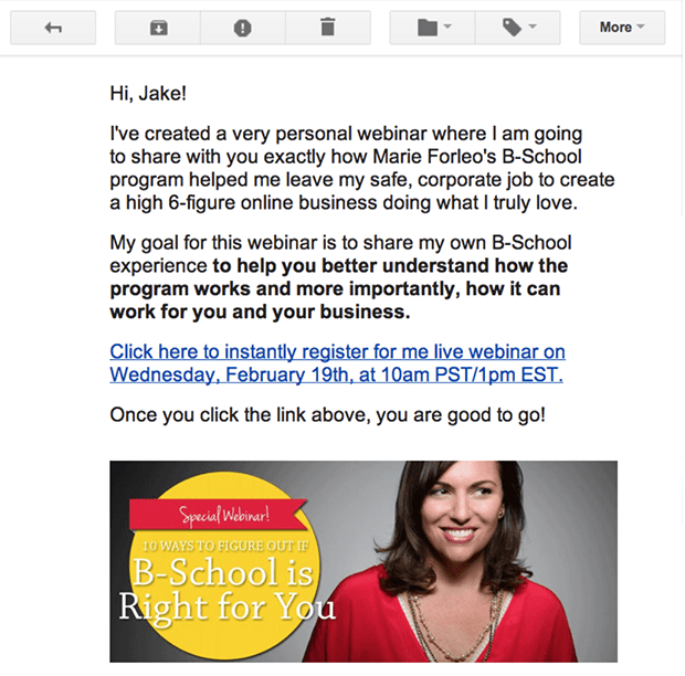 By using LeadLinks, my subscribers can register instantly for my webinar by simply clicking the link in this email.