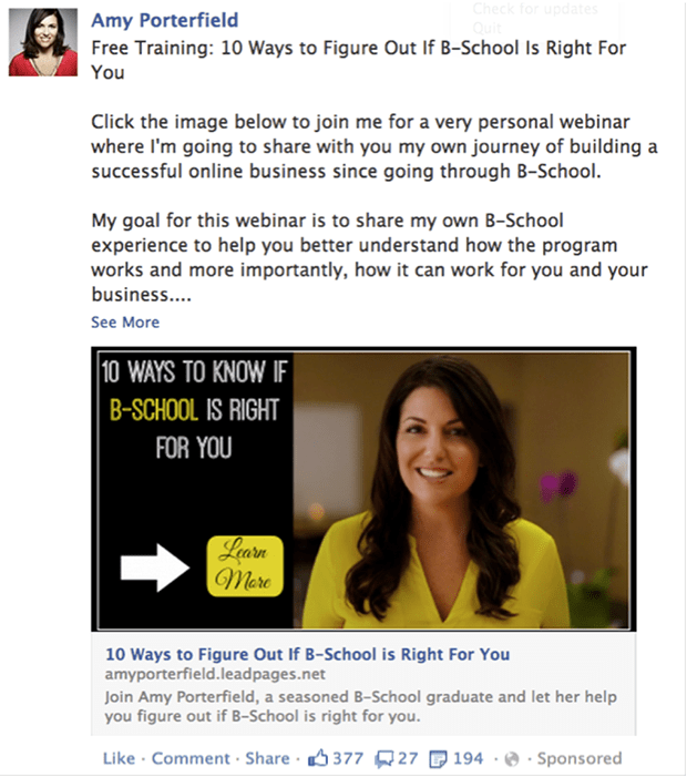 Here's a quick example of one of my News Feed ads that I'm using for this affiliate launch.