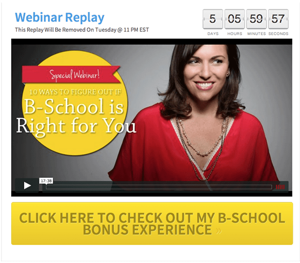 On this Webinar Replay page, I included a link to my bonus that I'm giving away when my subscribers enroll in B-School through my link to this Webinar Replay page.