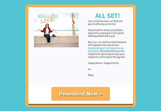 LeadPages Customer, Stacy Boegem created this matching thank you page from the Elegant Thank You Page inside LeadPages.