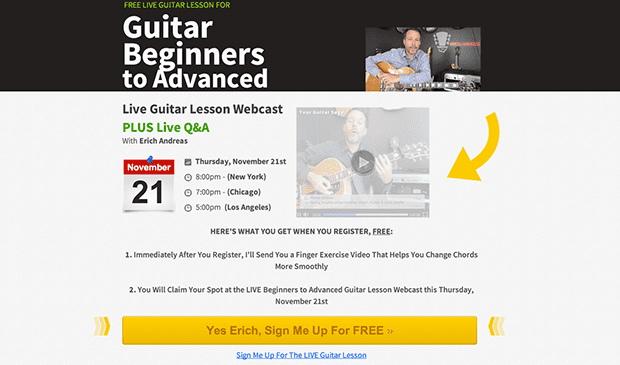 The Original: Guitar Sage's original session registration page used the Webinar Page from James Schramko.