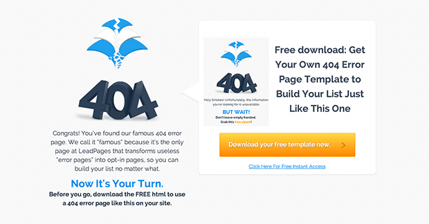 We built this 404 Leadpage here at Leadpages to capture leads when someone hits an error page on our blog.
