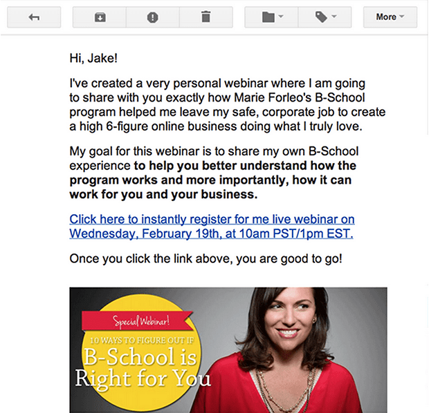 In this email, Amy Porterfield used a Leadlink to instantly register her list for her webinar.