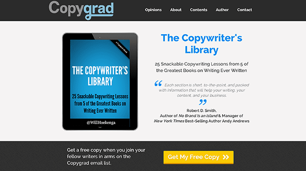 Check out the copy on this Ebook Landing Page from Pat Flynn from LeadPages customer, Will Hoekenga of Copygrad.