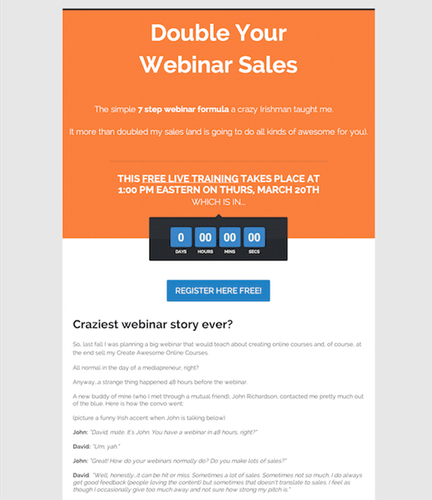 LeadPages customer, David Garland of Rise to the Top created this hilarious webinar page from the new 2-in-1 Opt-in and Webinar Registration Page inside LeadPages.