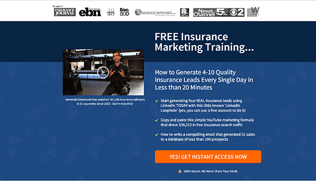 "LeadPages customer, Jeremiah Desmarais generated this ""Free Insurance Marketing Training"" from the new Social Proof Giveaway Page inside LeadPages."