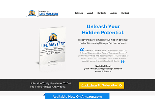 Leadpages Customer, Stefan Pylarinos used the EBook Landing Page from Pat Flynn to create this Leadpage for his new book Life Mastery. You can see his whole page here.