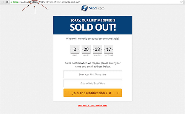 "LeadPages customer, Chuck Mullaney of SendReach created this page from the ""Sold Out"" page inside LeadPages."