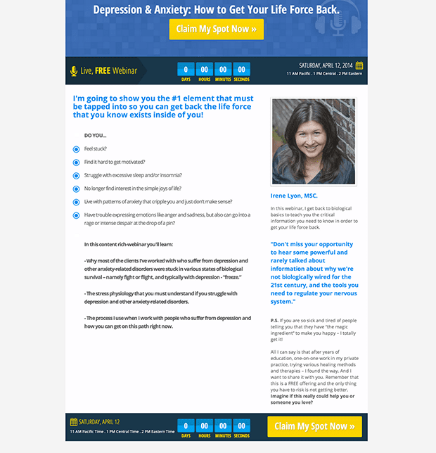 "Leadpages Customer, Irene Lyon created this long form webinar copy for the ""Web 3.0 Webinar Registration Page (With Countdown Timer)"" Leadpage. Check out her page live here."