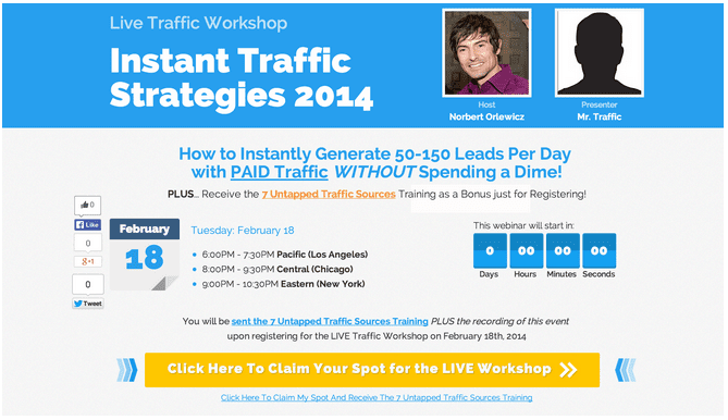 "For this variation, Norbert used the Web 3.0 Webinar Registration template which features a webinar countdown and social buttons. He also included a second ""Mr. Traffic"" photo at top."
