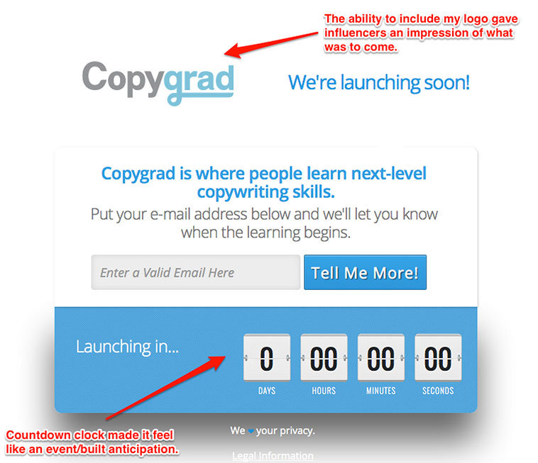 Before my site even launched, I used this launching soon page from LeadPages so my site would pass the eye test.