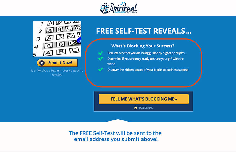 LeadPages users, Maggie and Nigel Percy used the new Perfect Squeeze Page from Justin Brooke to create this self-test opt-in page for Spiritual Business Formula.