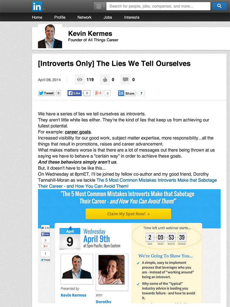 Check out this brilliant use of Linkedin post to drive traffic back to this Webinar 2.0 Registration page.