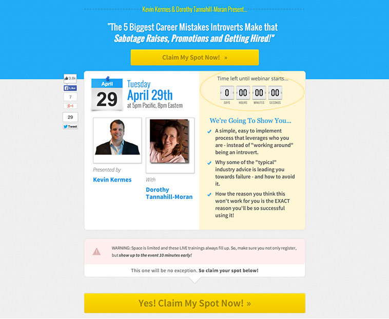 LeadPages User, Kevin Kermes used the Webinar 2.0 (Two Hosts & High CTA button) page to create this compelling webinar registration page.