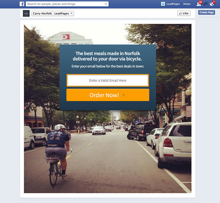 LeadPages users at Carry Norfolk created this Facebook landing page from the Basic Centered Squeeze Page inside LeadPages.