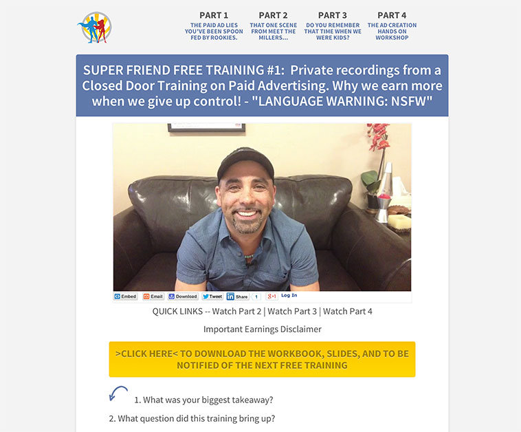 LeadPages user, Mike Hill created this four-part video launch from the LeadPages launch funnel page.