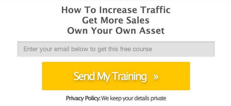 "Original/Control: This pop-up LeadBox features longer headline, a privacy policy and a yellow button that reads, ""Send My Training."""