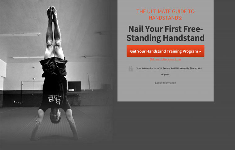 "Straight Body Handstand: Here Andy uses the ""Basic Squeeze Page (Aligned To The Right)"" theme with a photo of a handstand with his legs together."