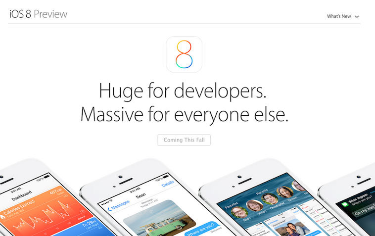 A screenshot of what's above the fold on the iOS 8 landing page.