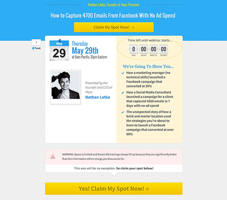 LeadPages user and Founder of Heyo Nathan Latka created this webinar page from the Webinar 2.0 Page (Two Hosts with a High CTA) inside LeadPages.