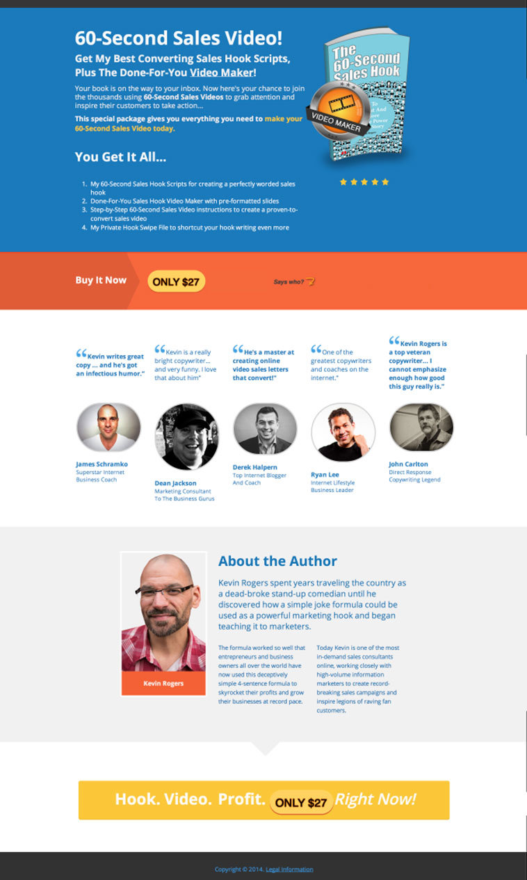 eadPages user and author Kevin Rogers created this fantastic sales page from the just-released Book Sales Page inside LeadPages.