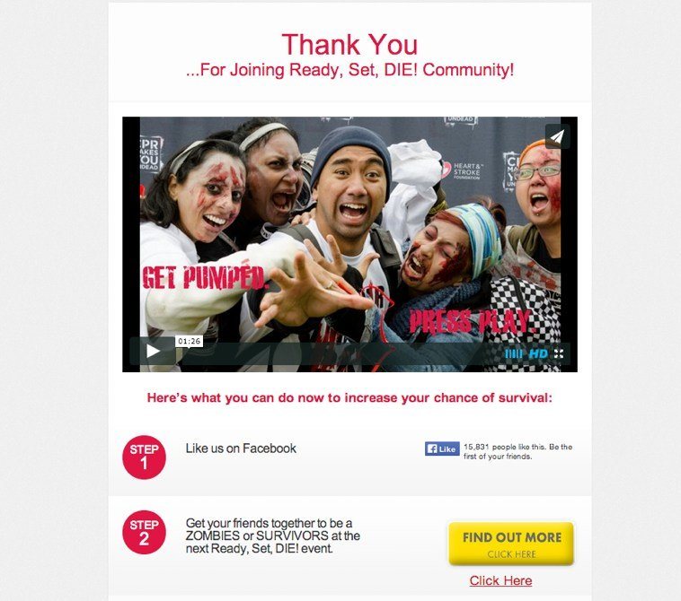 The LeadPages users at Ready, Set, Die! (a zombie-themed 5k race), use our Thank You Page template to drive both Facebook likes and traffic to their website.